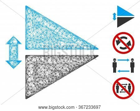 Mesh Flip Vertically Web Icon Vector Illustration. Carcass Model Is Based On Flip Vertically Flat Ic