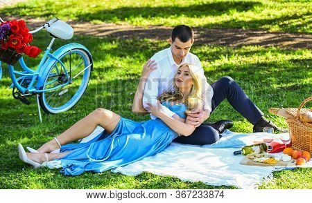 Romantic Picnic. Picnic Time. Arrived By Bike. Long Lasting Relationship. Couple Having Picnic In Pa