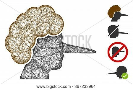 Mesh Liar Web Icon Vector Illustration. Carcass Model Is Created From Liar Flat Icon. Mesh Forms Abs