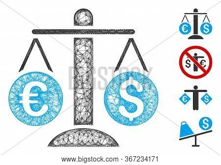 Mesh Currency Scales Web 2d Vector Illustration. Carcass Model Is Based On Currency Scales Flat Icon