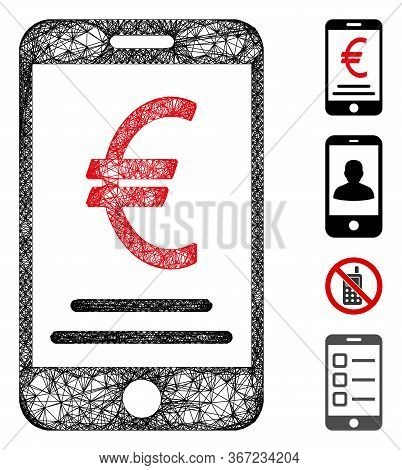 Mesh Euro Mobile Payment Web Icon Vector Illustration. Carcass Model Is Based On Euro Mobile Payment