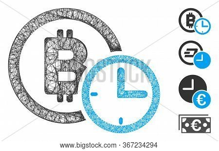 Mesh Bitcoin Credit Time Web Icon Vector Illustration. Carcass Model Is Based On Bitcoin Credit Time