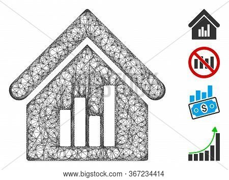 Mesh Realty Bar Chart Web Icon Vector Illustration. Carcass Model Is Created From Realty Bar Chart F