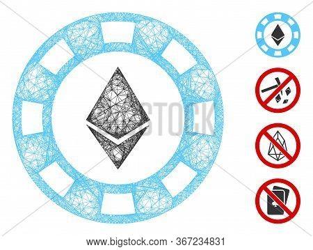 Mesh Ethereum Casino Chip Web 2d Vector Illustration. Model Is Based On Ethereum Casino Chip Flat Ic