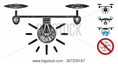 Mesh Copter Illumination Web Icon Vector Illustration. Model Is Based On Copter Illumination Flat Ic