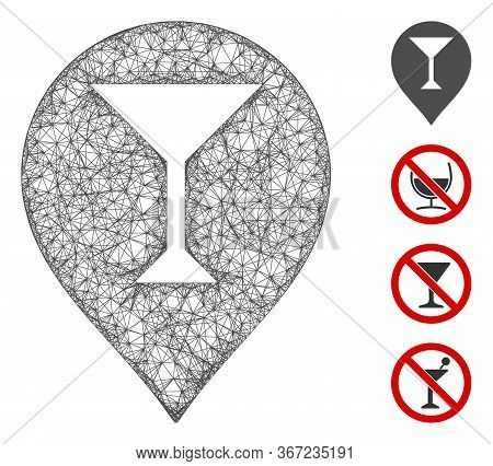 Mesh Wine Bar Marker Web Icon Vector Illustration. Model Is Created From Wine Bar Marker Flat Icon.