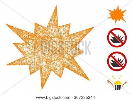 Mesh Bang Web Icon Vector Illustration. Carcass Model Is Based On Bang Flat Icon. Network Forms Abst