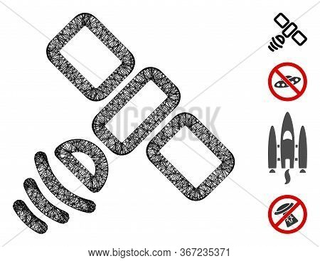 Mesh Satellite Web 2d Vector Illustration. Model Is Based On Satellite Flat Icon. Mesh Forms Abstrac