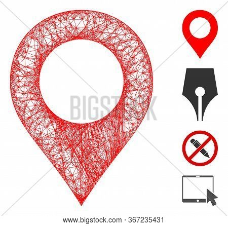 Mesh Map Marker Web 2d Vector Illustration. Model Is Based On Map Marker Flat Icon. Network Forms Ab