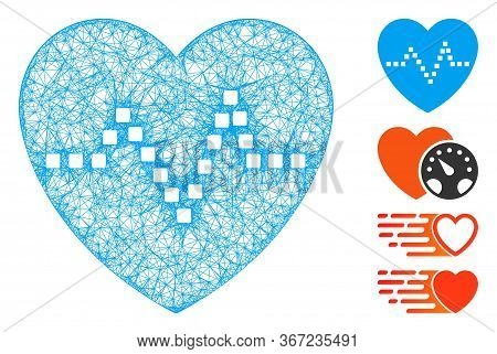 Mesh Heart Pulse Web Icon Vector Illustration. Model Is Based On Heart Pulse Flat Icon. Mesh Forms A