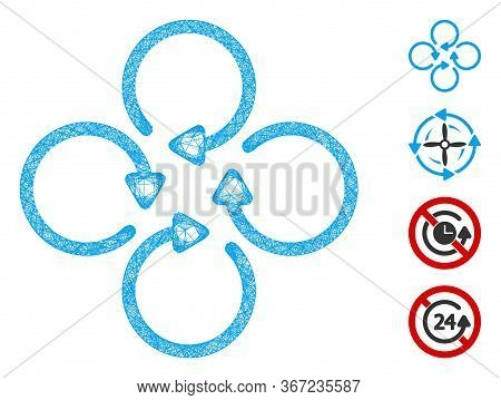 Mesh Rotation Web Icon Vector Illustration. Carcass Model Is Based On Rotation Flat Icon. Network Fo