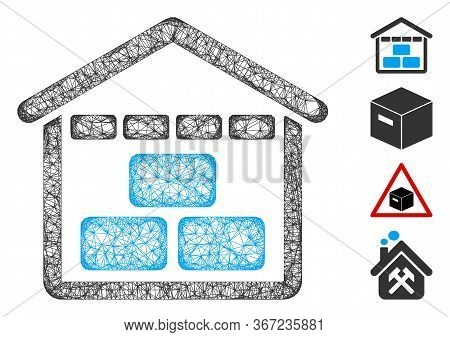 Mesh Warehouse Web Icon Vector Illustration. Carcass Model Is Created From Warehouse Flat Icon. Netw