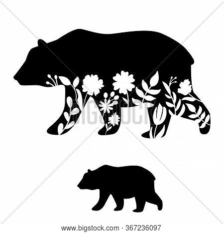 Bear Silhouette Vector Illustration. Floral Cutout Mammal Vector Icon For Scrapbook Decor And Iron O