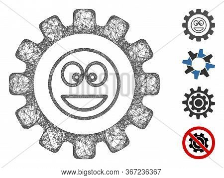 Mesh Settings Gear Smile Web Icon Vector Illustration. Abstraction Is Created From Settings Gear Smi