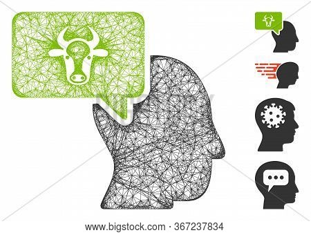 Mesh Cow Thinking Person Web Symbol Vector Illustration. Carcass Model Is Based On Cow Thinking Pers