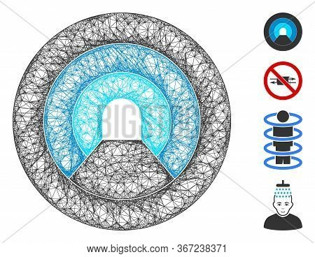 Mesh Pipe Tunnel Web Symbol Vector Illustration. Model Is Based On Pipe Tunnel Flat Icon. Mesh Forms