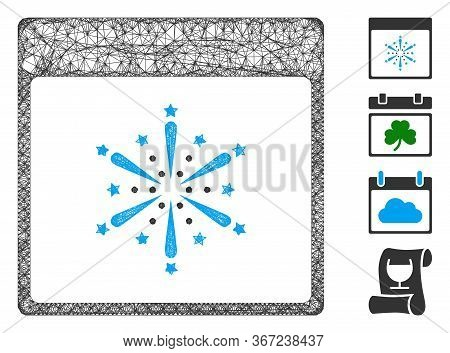 Mesh Fireworks Boom Calendar Page Web Icon Vector Illustration. Abstraction Is Based On Fireworks Bo