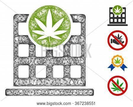 Mesh Cannabis Building Web Icon Vector Illustration. Carcass Model Is Based On Cannabis Building Fla