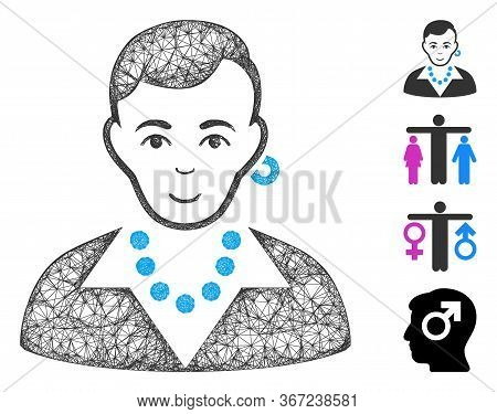 Mesh Trendy Gay Web Icon Vector Illustration. Carcass Model Is Created From Trendy Gay Flat Icon. Me