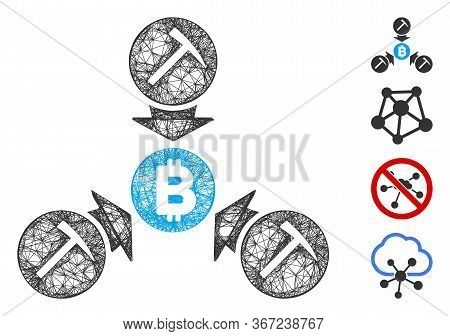 Mesh Bitcoin Mining Pool Web Icon Vector Illustration. Carcass Model Is Based On Bitcoin Mining Pool