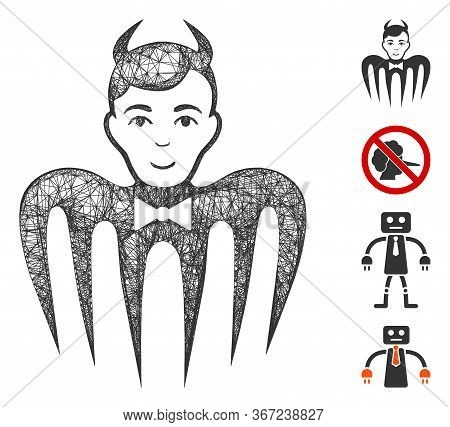 Mesh Manager Spectre Devil Web Icon Vector Illustration. Model Is Based On Manager Spectre Devil Fla