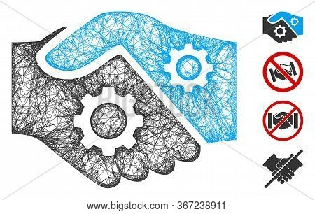 Mesh Smart Contract Handshake Web Icon Vector Illustration. Carcass Model Is Based On Smart Contract