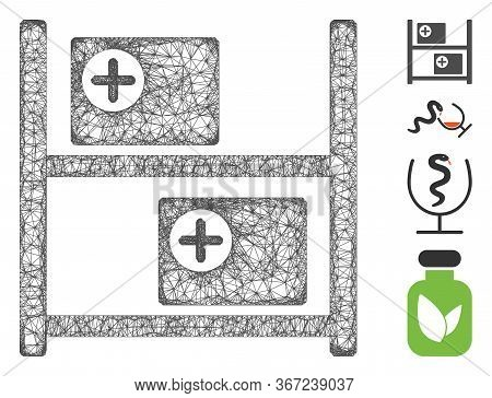 Mesh Medical Goods Shelves Web Icon Vector Illustration. Model Is Based On Medical Goods Shelves Fla