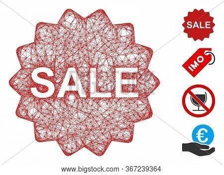 Mesh Sale Token Web 2d Vector Illustration. Model Is Based On Sale Token Flat Icon. Mesh Forms Abstr