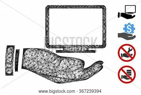 Mesh Computer Offer Hand Web 2d Vector Illustration. Model Is Based On Computer Offer Hand Flat Icon