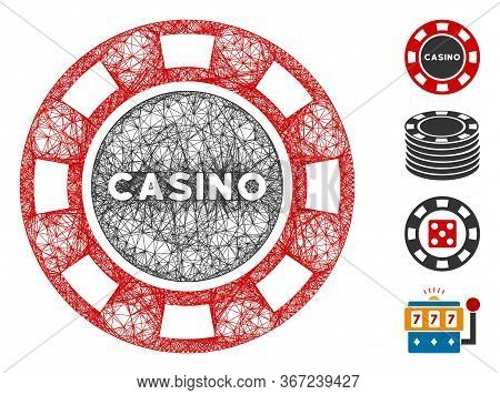 Mesh Casino Chip Web 2d Vector Illustration. Model Is Based On Casino Chip Flat Icon. Network Forms