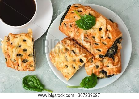 Pastries With Feta Cheese And Spinach.greek Pie Spanakopita.