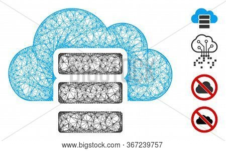 Mesh Cloud Database Web 2d Vector Illustration. Carcass Model Is Created From Cloud Database Flat Ic