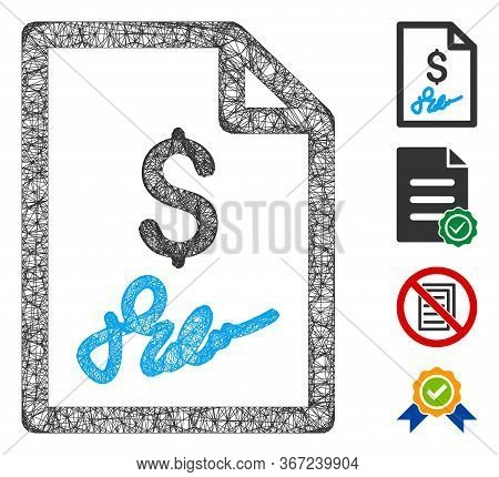 Mesh Invoice Page Web Icon Vector Illustration. Carcass Model Is Based On Invoice Page Flat Icon. Ne