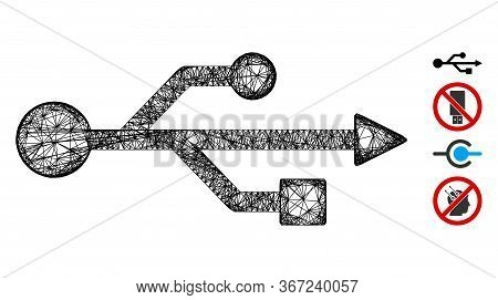 Mesh Usb Symbol Web Icon Vector Illustration. Model Is Based On Usb Symbol Flat Icon. Network Forms