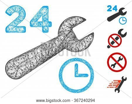 Mesh Service Hours Web Symbol Vector Illustration. Model Is Based On Service Hours Flat Icon. Mesh F