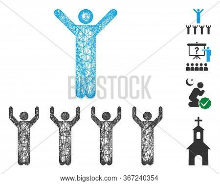 Mesh Religion Guru Web Icon Vector Illustration. Carcass Model Is Based On Religion Guru Flat Icon.