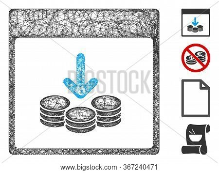 Mesh Get Coins Calendar Page Web Icon Vector Illustration. Model Is Based On Get Coins Calendar Page