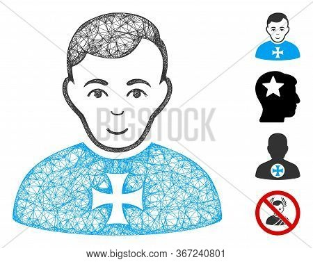 Mesh Order Chevalier Web Icon Vector Illustration. Model Is Based On Order Chevalier Flat Icon. Mesh