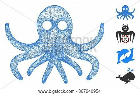 Mesh Octopus Web Symbol Vector Illustration. Carcass Model Is Created From Octopus Flat Icon. Mesh F