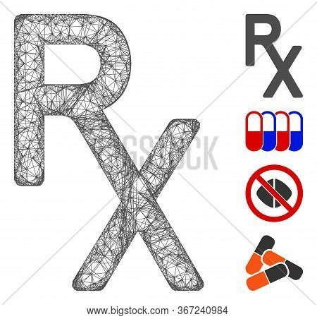 Mesh Rx Medical Symbol Web 2d Vector Illustration. Carcass Model Is Based On Rx Medical Symbol Flat