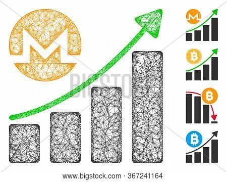 Mesh Monero Growing Graph Trend Web 2d Vector Illustration. Model Is Based On Monero Growing Graph T