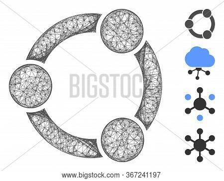 Mesh Network Relations Web 2d Vector Illustration. Carcass Model Is Based On Network Relations Flat