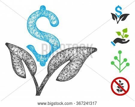 Mesh Eco Business Startup Web 2d Vector Illustration. Carcass Model Is Based On Eco Business Startup