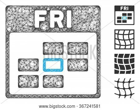 Mesh Friday Calendar Grid Web Icon Vector Illustration. Model Is Based On Friday Calendar Grid Flat