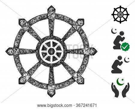 Mesh Dharma Wheel Web Icon Vector Illustration. Carcass Model Is Created From Dharma Wheel Flat Icon