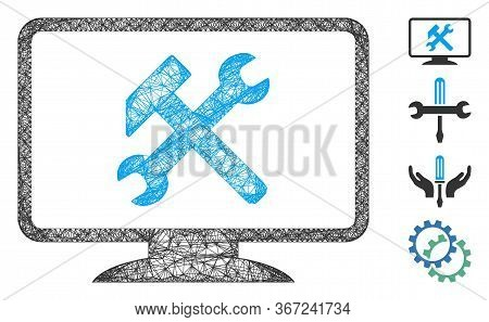 Mesh Desktop Settings Web 2d Vector Illustration. Model Is Based On Desktop Settings Flat Icon. Netw