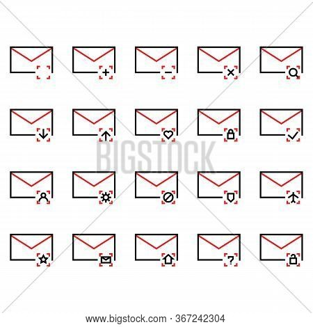 Mail And Message Icon Set Include Mail,date, Message, Notification, Plus, Minus, Cross, Search, Look