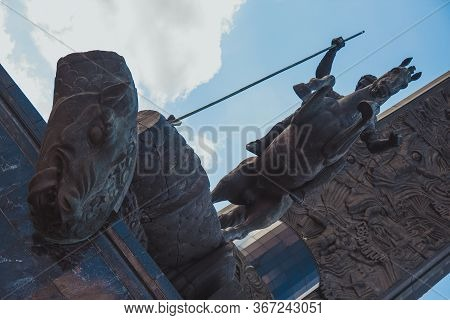 Moscow, Russia, March 22, 2020: The Bronze Equestrian Statue Of Saint George The Victorious Striking