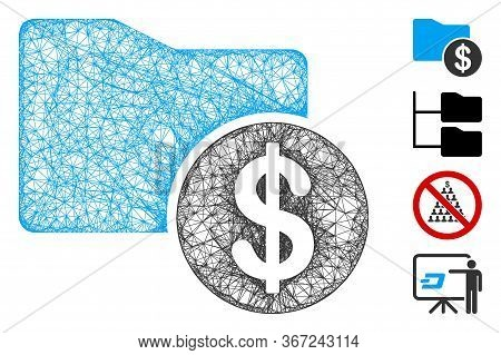 Mesh Financial Folder Web Icon Vector Illustration. Abstraction Is Based On Financial Folder Flat Ic