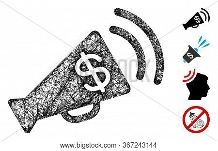 Mesh Ads Megaphone Budget Web 2d Vector Illustration. Model Is Based On Ads Megaphone Budget Flat Ic